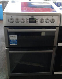 H102 silver beko 60cm ceramic hob double oven electric cooker new graded with 12 month warranty