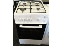 b070 white & chrome 50cm lpg gas cooker comes with warranty can be delivered or collected