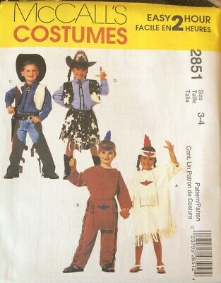 Cowboy Halloween Costume Patterns (McCalls Pattern 2851 Kids Costumes Halloween Cowboy Indian Sizes 3-4)