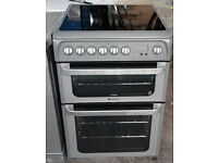 a803 silver hotpoint 60cm ceramic hob double oven electric cooker comes with warranty can deliver