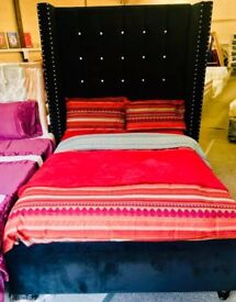 +*NADZ BESPOKE NEW DOUBLE CRUSHED VELVET/STUDDED POSTS FRAME/MATTRESS AVAILABLE/DELIVERY AVAILABLE *