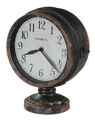 NEW 635-195 HOWARD MILLER DOUBLE SIDED AGED BLACK FINISH TABLE CLOCK 635195