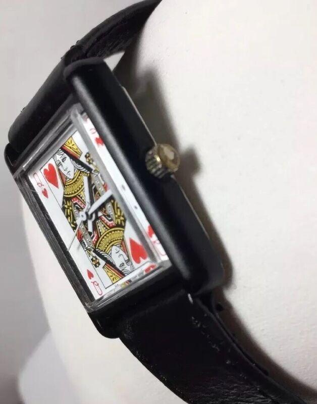 Queen Heart Casino Poker Watch Black Hand Winding Premier Precision Ltd Hk White