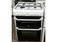 C316 white indesit 60cm double oven gas cooker comes with warranty can be delivered or collected