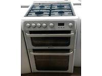 a496 white hotpoint 60cm double oven gas cooker comes with warranty can be delivered or collected