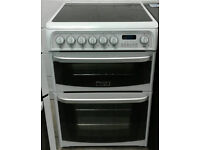 a589 white cannon 60cm double oven ceramic hob electric cooker comes with warranty can be delivered