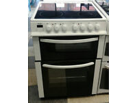 a157 white bush 60cm ceramic hob double oven electric cooker comes with warranty can be delivered