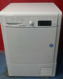 k087 white indesit 8kg B rated condenser dryer comes with warranty can be delivered or collected