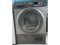 j263 graphite hotpoint 8kg condenser dryer comes with warranty can be delivered or collected