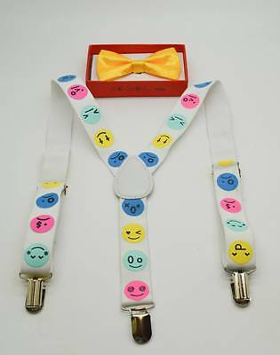 Suspender and Bow Tie Children Yellow & Emoji Wedding Formal Wear Accessories - Yellow Bow Tie And Suspenders