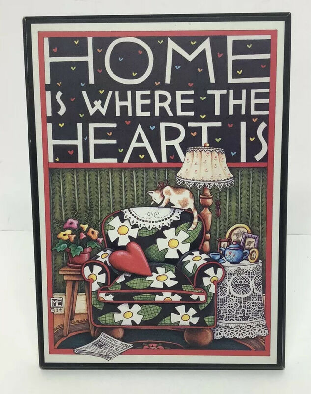 """Vintage Mary Engelbreit """"Home Is Where The Heart Is"""" Standing Picture/Sign"""