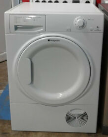 *c534 white hotpoint 8kg condenser dryer comes with warranty can be delivered or collected