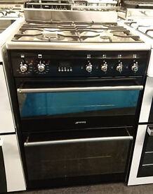 l142black and stainless steel smeg 60cm double electric oven gas hob dual fuel cooker can deliver