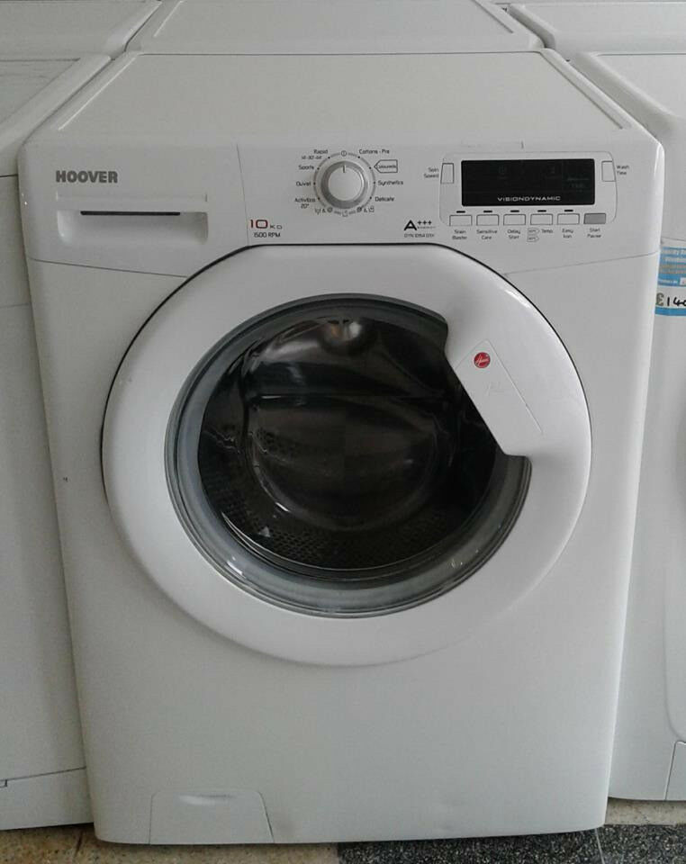 J676 white hoover 10kg 1500 spin washing machine comes with warranty can be delivered or collected