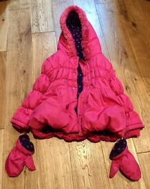 Girl's Winter coat with Mitts (George) 1.5-2 yrs