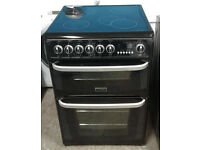 E206 black cannon 60cm double oven ceramic hob electric cooker comes with warranty can be delivered