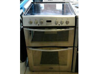 O185 stainless steel belling 60cm double oven ceramic hob electric cooker