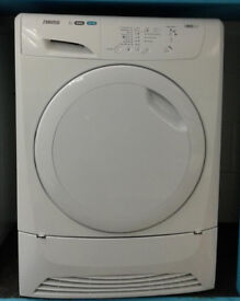 S156 white zanussi 8kg condenser dryer comes with warranty can be delivered or collected