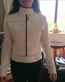 Ladies Peroni white leather biker jacket. Small