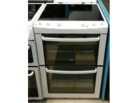 a785 white zanussi 60cm double oven ceramic hob electric cooker comes with warranty can be delivered