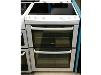 c785 white zanussi 60cm double oven ceramic hob electric cooker comes with warranty can be delivered
