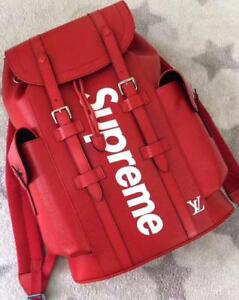 Louis Vuitton X Supreme BackPack Red/Black ( More Styles Brands Colors Available)