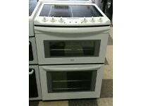 b625 white zanussi 60cm double oven ceramic electric cooker with warranty can be delivered / collect