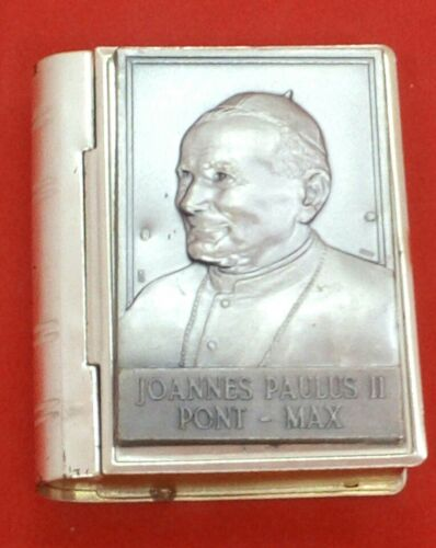 Pope John Paul II Silver-Plated Bible-Shaped Rosary Box/Pill Box Made in Italy
