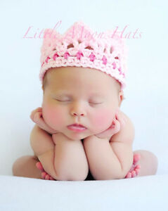 Newborn-Baby-Crochet-Pink-Crown-Photography-Prop