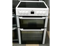a239 white beko 60cm double oven ceramic hob electric cooker comes with warranty can be delivered