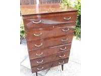 Retro vintage 'Meredew' mid century tall boy chest of drawers