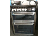 D432 stainless steel & black hotpoint double oven ceramic hob electric cooker comes with warranty