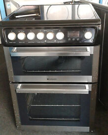 I432 stainless steel & black hotpoint double oven ceramic hob electric cooker comes with warranty