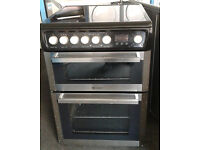 E432 stainless steel & black hotpoint double oven ceramic hob electric cooker comes with warranty
