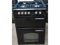 Z179 black leisure 60cm double oven gas cooker comes with warranty can be delivered or collected