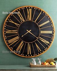 NEW Horchow Large 45FRENCH Hand Painted Black Gold Wood Metal Wall Mental CLOCK