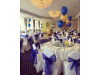 AFFORDABLE Event Decor - Chair Covers / Backdrops / Flower Wall / Balloons / Centerpieces