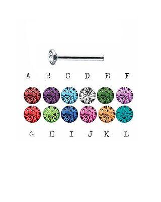 16G Nose Bone ONE (1) Bezel Set Birthstone Colors NEW ring stud stainless (Bezel Nose Ring)