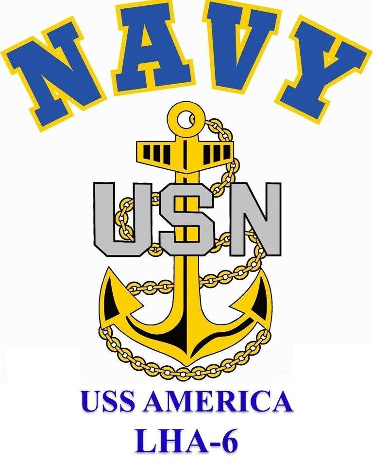STICKER USN US Navy USS America LHA-6 Amphibious Assault Ship Emblem