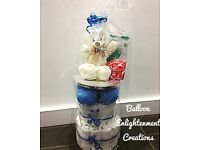Baby Gift Nappy Cake + Balloons/Boy/Girl/Baby Shower/New Baby/Hospital/Keepsake/Delivery/Collect