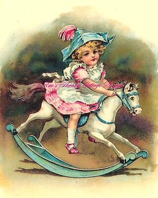 Precious Vintage Print REPRO Little Girl on Rocking Horse Fabric Block 5x7 for sale  Paragould