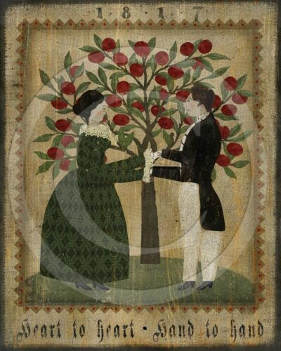 Primitive Folk Art Colonial Valentines Couple Hand To Heart Fraktur Print 8x10