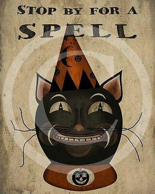 Primitive Folk Art Black Cat Halloween Fall Harvest Autumn Print - Halloween Folk Art Primitives