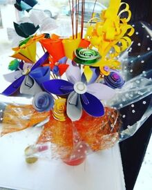Large Vibrant Orange & Purple Handmade Bouquet