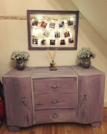 Vintage cottage style side table chest of draws