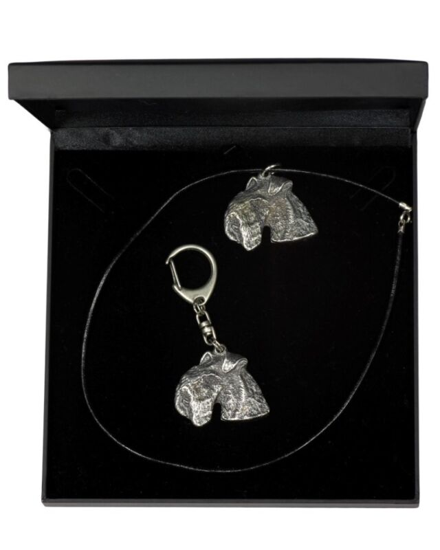 Lakeland Terrier - set necklace, keyring with a dog, black box, Art Dog USA