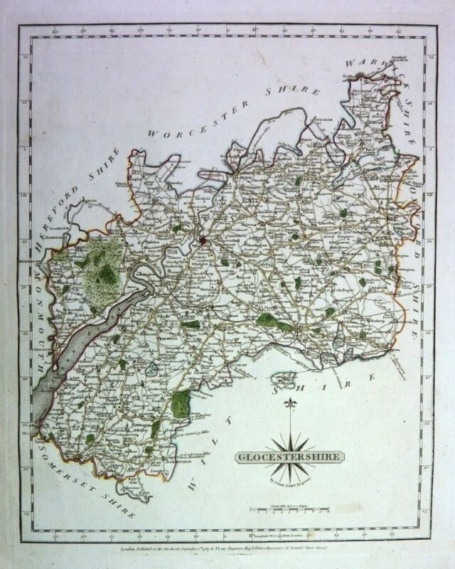 Antique map, Glocestershire ..
