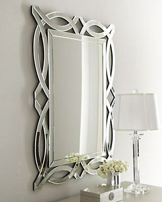 "NEW Horchow LARGE 42"" ARCH MODERN VENETIAN Wall Vanity Beveled Mirror"