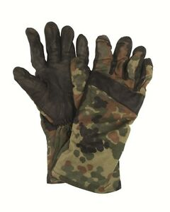 GENUINE-GERMAN-ARMY-ISSUE-COTTON-LEATHER-FLECKTARN-CAMO-COMBAT-GLOVES-GRADE-1