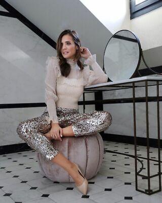 Zara Brillante Lentejuelas Pantalones Talla Mediana